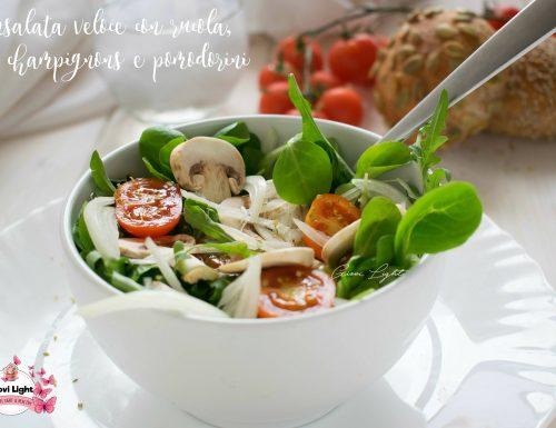 Insalata veloce con rucola, champignons e pomodorini