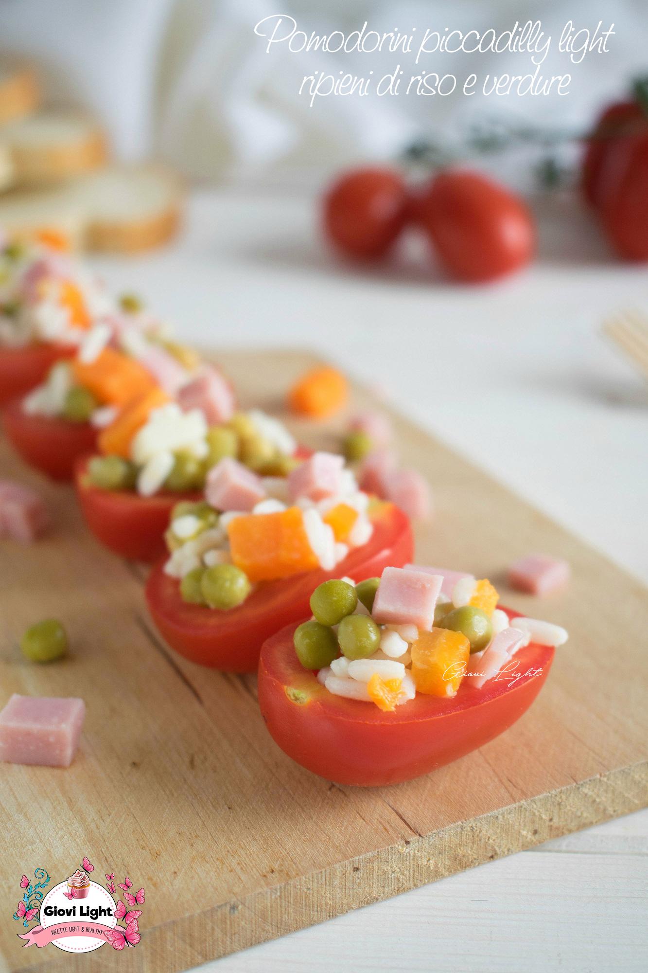Pomodorini piccadilly light ripieni di riso e verdure - ricetta finger food