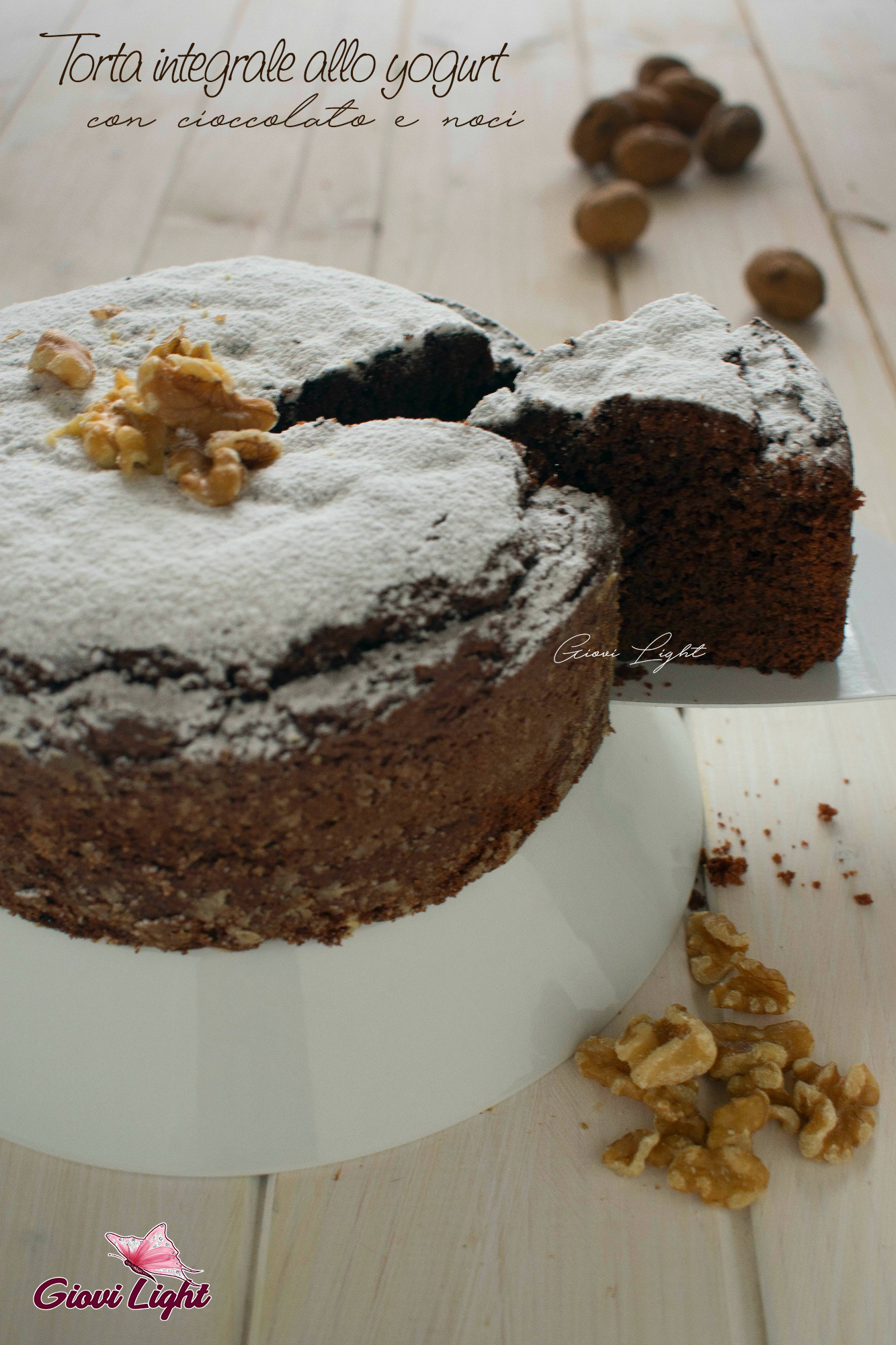 Torta integrale allo yogurt, noci e cioccolato
