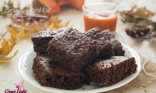 Brownies integrali light di zucca e cacao