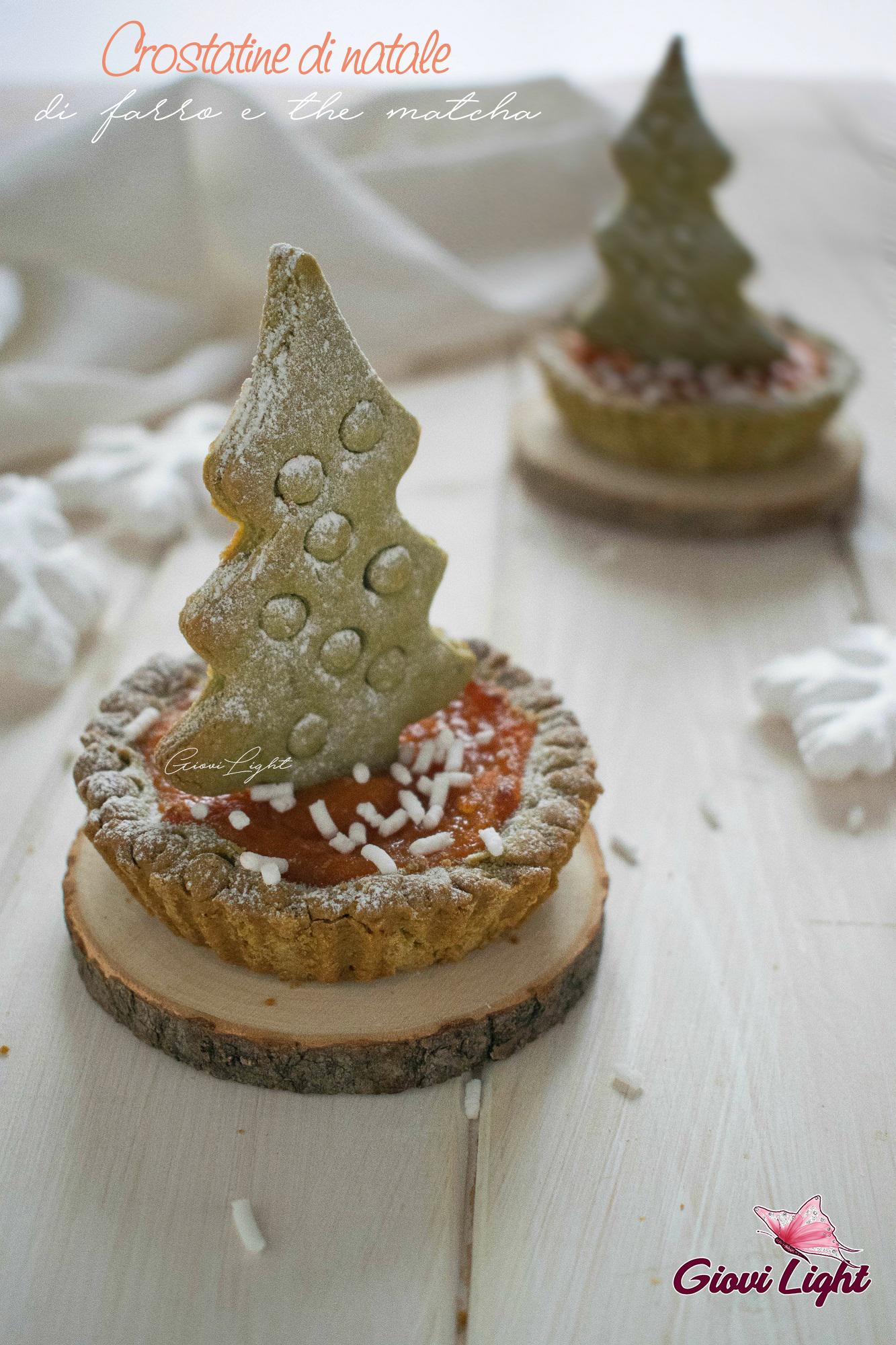 Crostatine di Natale al farro e the matcha
