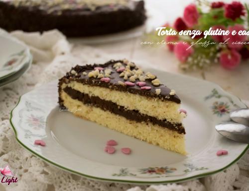 Torta senza glutine e caseina con crema e glassa al cioccolato