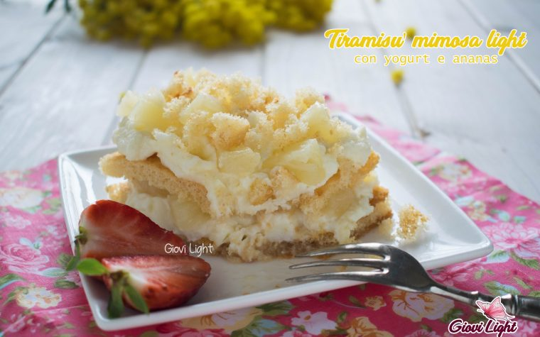 Tiramisù mimosa light, con yogurt e ananas