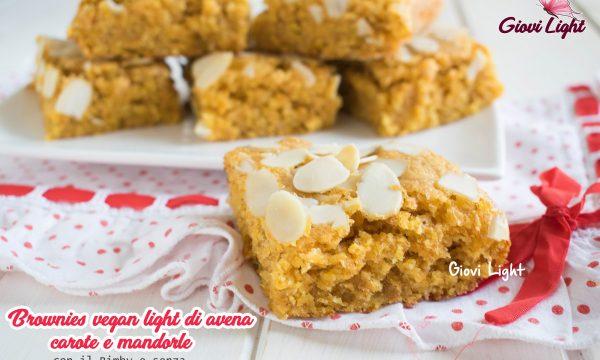 Brownies vegan light di avena, carote e mandorle, con il Bimby e senza