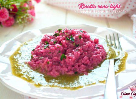 Risotto rosa light su crema light di piselli