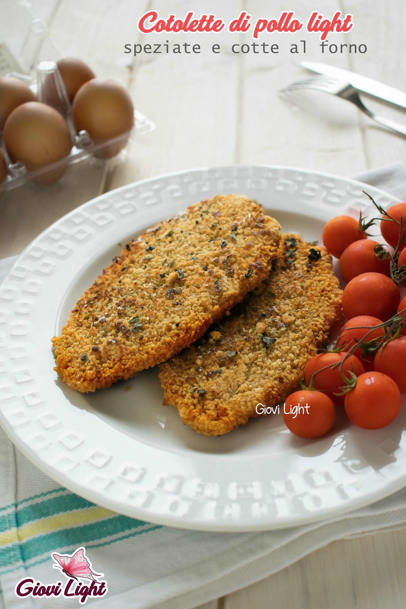 Cotolette di pollo light, speziate e cotte al forno