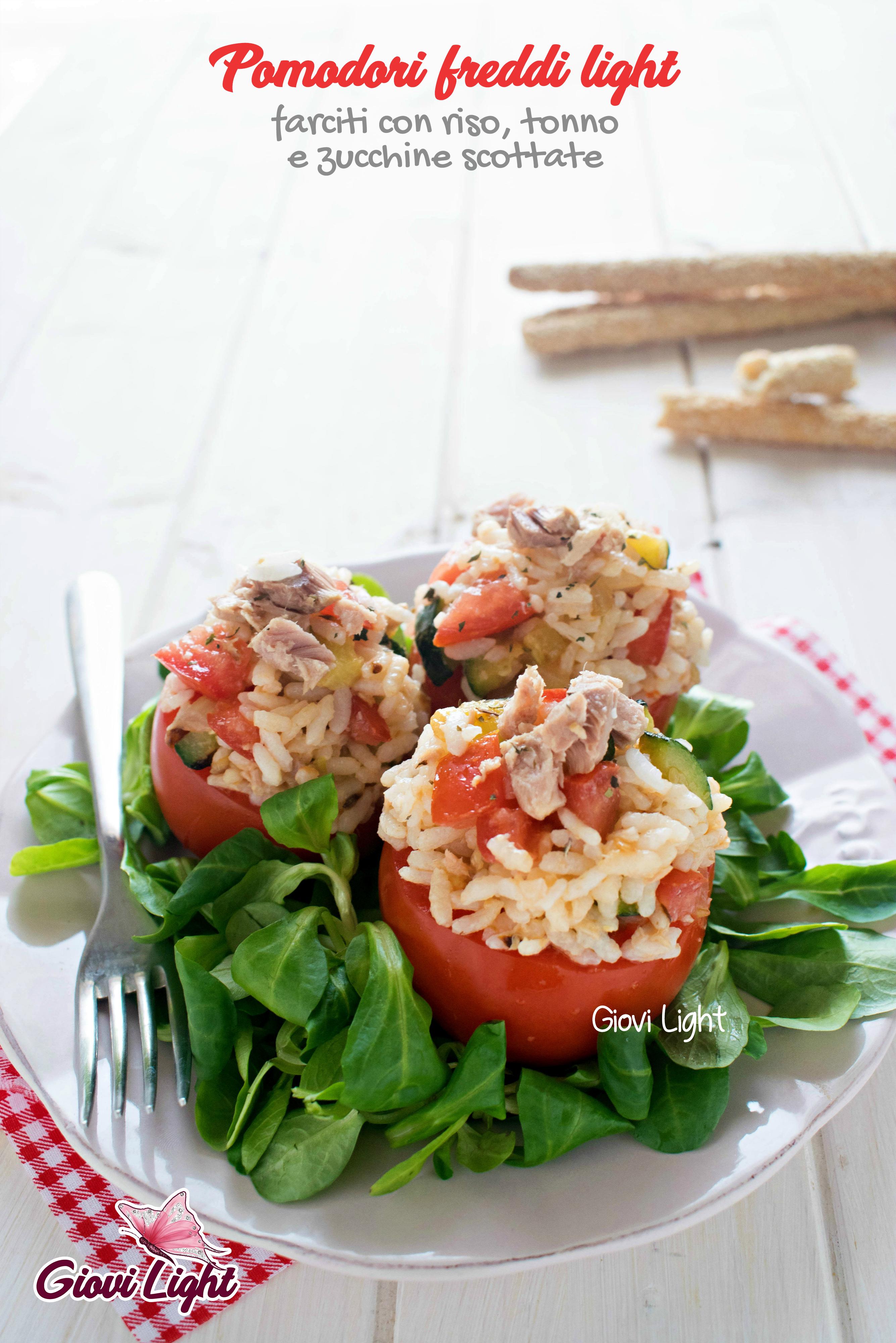 Pomodori freddi light farciti con riso, tonno e zucchine scottate