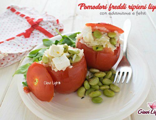 Pomodori freddi ripieni light con edamame e feta