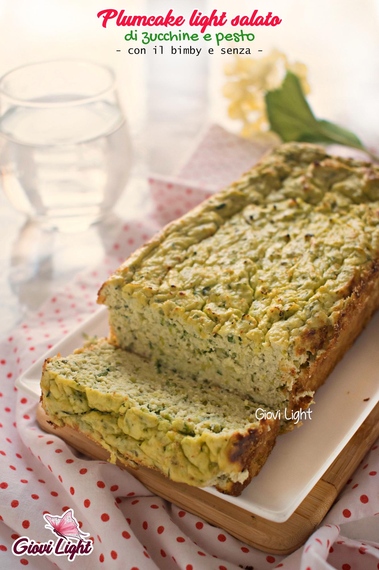 Plumcake light salato di zucchine e pesto - con il bimby e senza