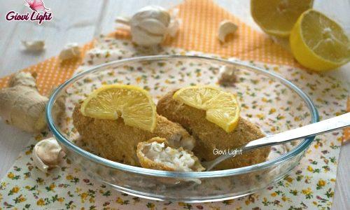 Cuori di merluzzo gratinati light al limone e zenzero
