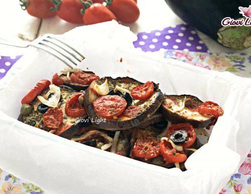 Melanzane al forno light con pomodorini e olive