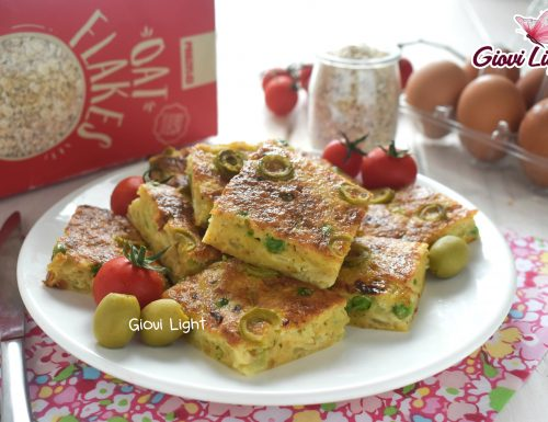 Frittata light all'avena con zucchine, olive e piselli