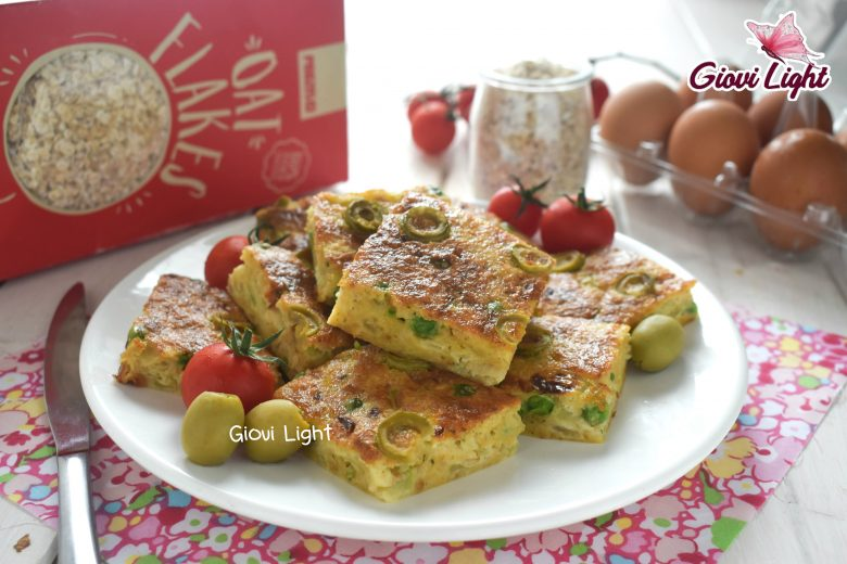 Frittata light all'avena con zucchine, olive e piselli