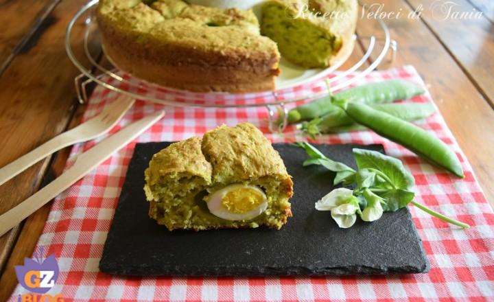Ciambella salata ai piselli e uova di quaglia