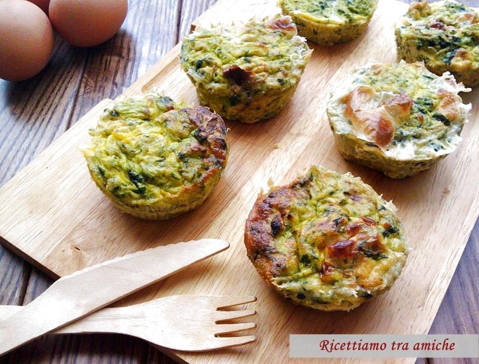 Muffin di frittata con cime di rapa