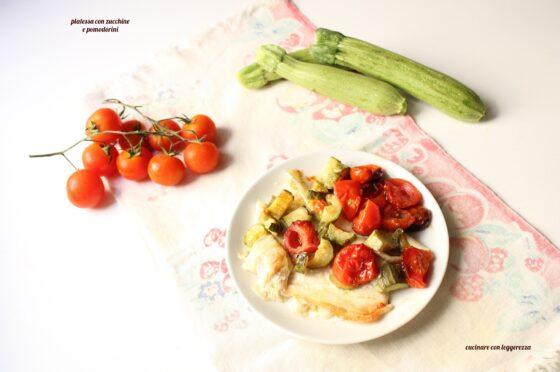 Platessa con zucchine e pomodorini