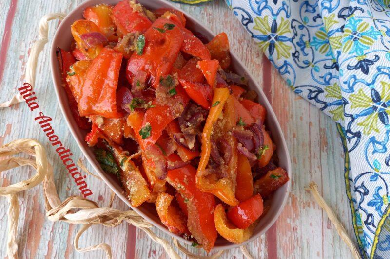 Peperoni sabbiati in agrodolce e pangrattato
