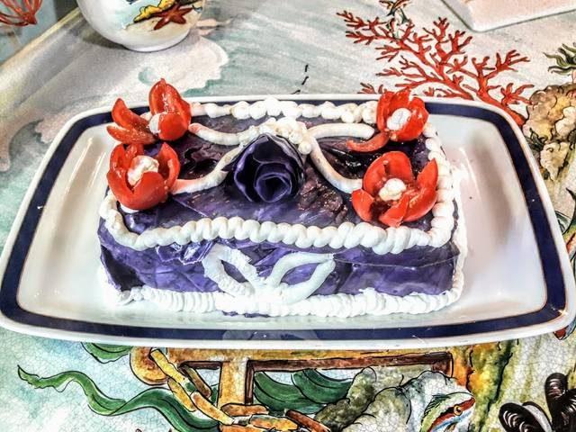 Cheesecake salata con verza viola