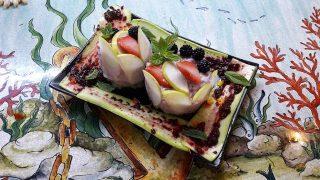 Tartare di pescespada e frutta fingerfood