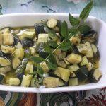Zucchine trifolate con pesto alla menta