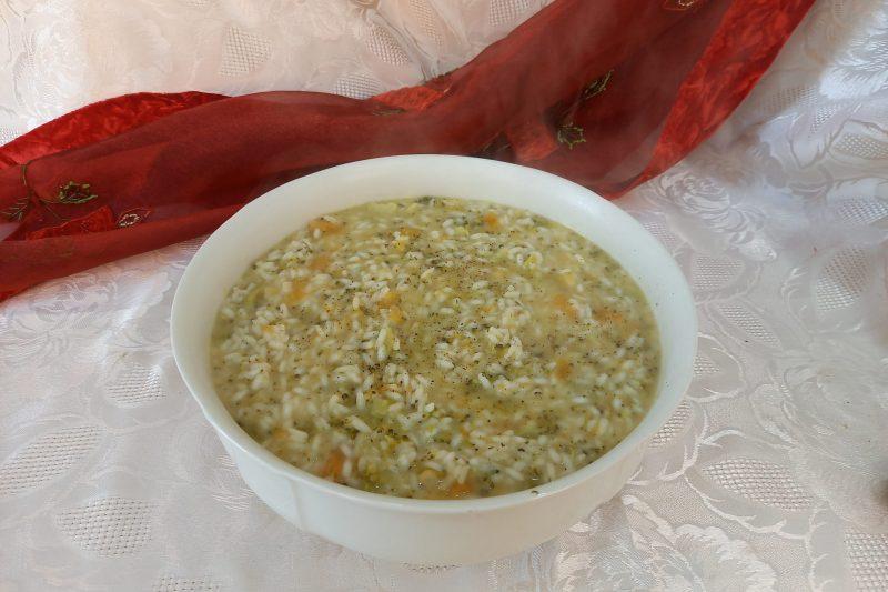 Risotto broccoli  zucca e parmigiano