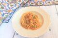 Spaghetti con zucchine con gamberoni e bottarga
