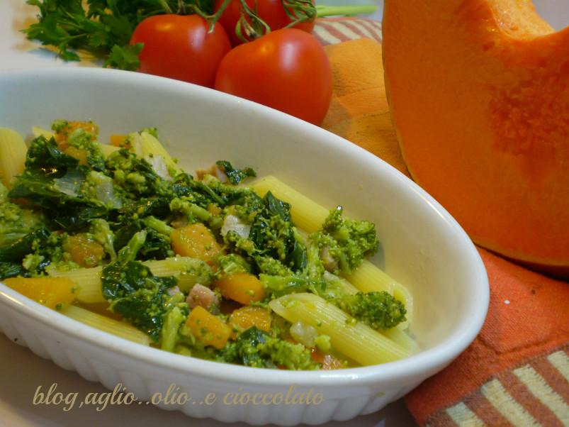 pasta con la zucca e broccoletti siciliani
