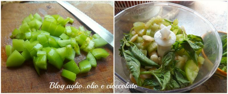 Collagepasta pesto pomodori verdi