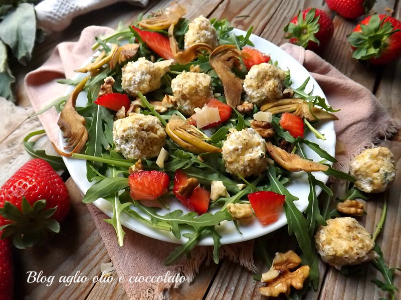 insalata di formaggio fragole e carciofi