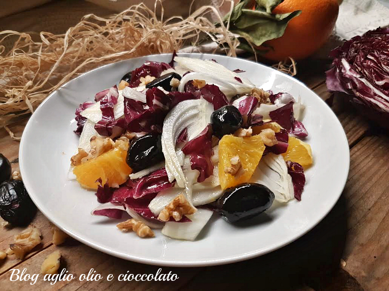 insalata radicchio finocchi e olive