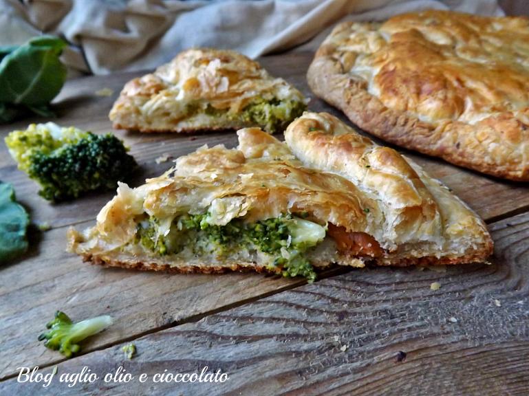 pizza sfogliata broccoli e scamorza