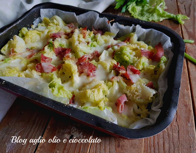cavolo verza gratinato con formaggio e speck