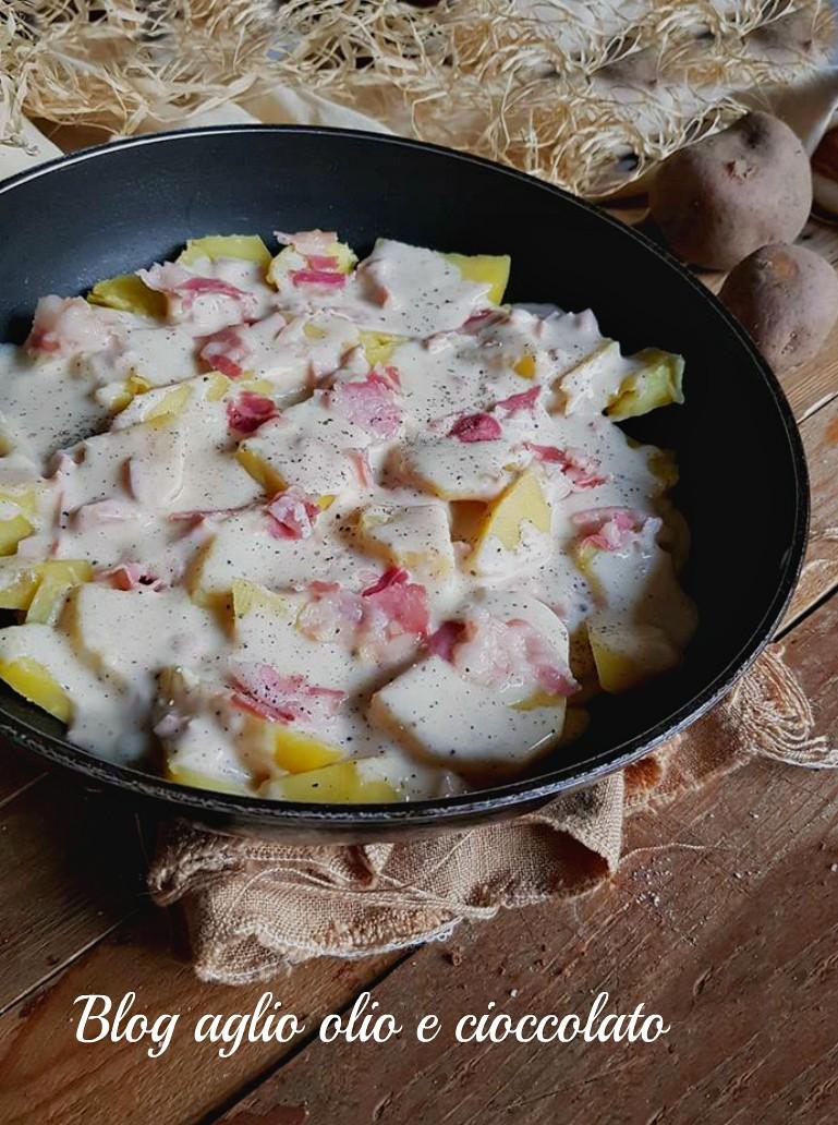 patate cacio e pepe con pancetta