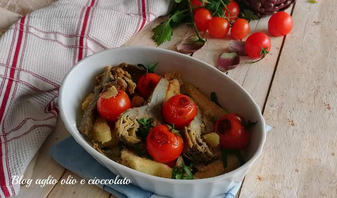 carciofi patate e pomodorini al forno