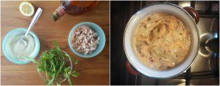 Gamberi e rucola con finta maionese senza uova