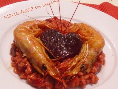 RISOTTO ALLA RAPA ROSSA, ricetta con gamberoni