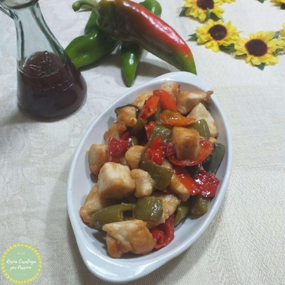 polllo e peperoni in agrodolce