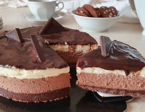 Torta fredda al cioccolato e vaniglia, ricetta facile