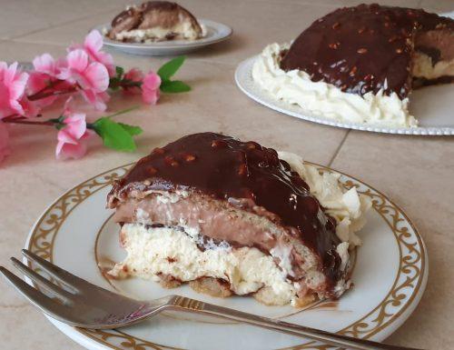 Zuccotto con crema alla nutella e crema alla vaniglia