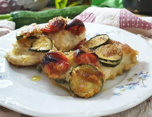 Cernia al forno con zucchine gratinate