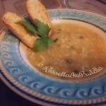 Minestra di riso con erba cipollina e crema di zucca