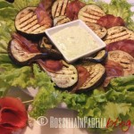 Caprese di bresaola e melanzane grigliate con crema di zucchine