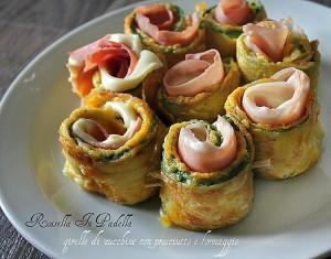 Girelle di zucchine con prosciutto e formaggio