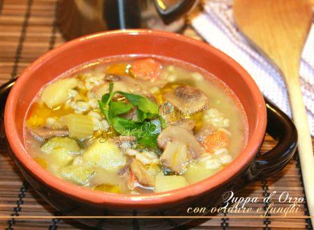 Zuppa di orzo con verdure e funghi