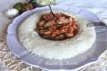Anello di riso con carciofi e melanzane