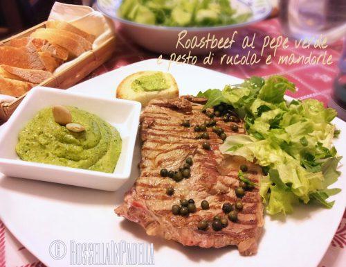 Roast beef al pepe verde con pesto di rucola e mandorle