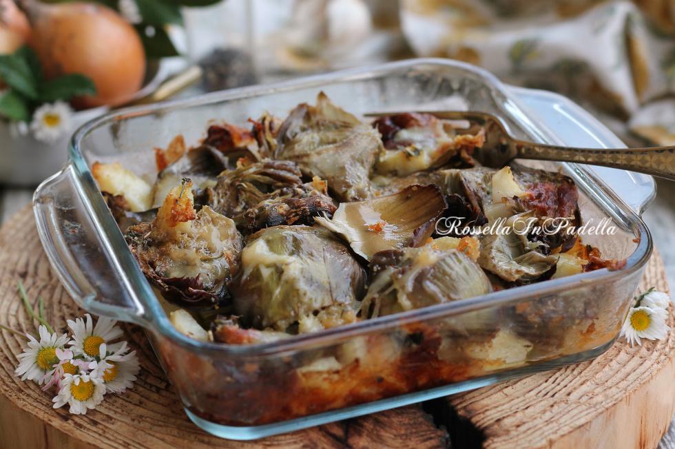 Carciofi e patate al forno con fontina