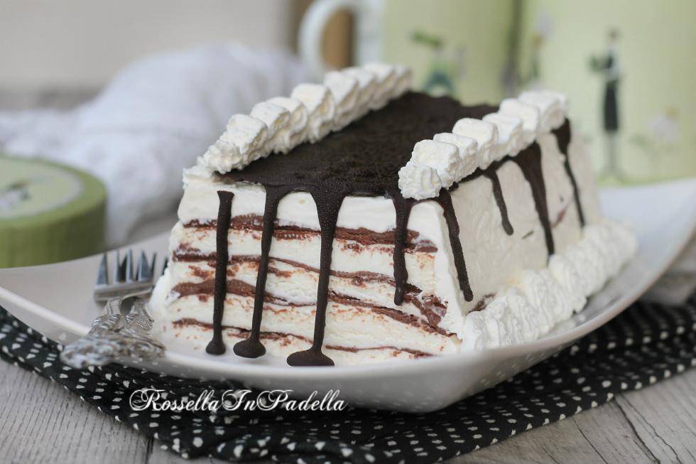 Torta gelato alla panna, cioccolato e nutella. Senza gelatiera
