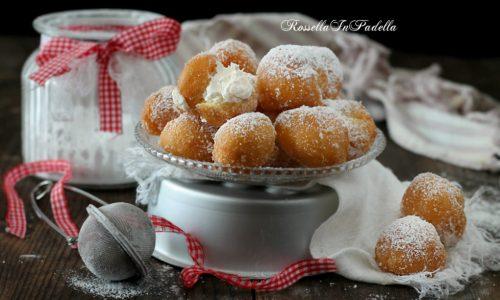 Tortelli fritti con crema al latte, dolci di Carnevale