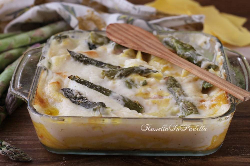 Lasagne con asparagi, prosciutto e besciamella - ricetta primo piatto facile